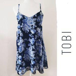 TOBI Y2K BLUE FLORAL SLIP DRESS